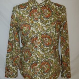 Talbots Funky Groovy Paisley Button Down Top